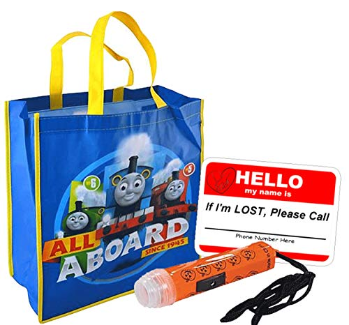 UPD Thomas Friends Boys All Aboard Resuable Large Sized Halloween Trick Treat Loot Bag!! Plus Bonus Safety First Sticker & Mini Halloween Flashlight Necklace!