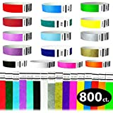 Goldistock 3/4'' Tyvek Wristbands The Ultimate Variety Pack 16 Colors - 800 Ct.- Green, Blue, Red, Orange, Yellow, Pink, Purple, Gold , Silver, Aqua, White, Black, Evergreen, Berry, Sky Blue, Sunrise