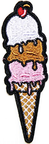Sweet Ice Cream Cones Snack Dessert Kid Baby Girl Boy Jacket T-shirt Pants Patch Sew Iron on Embroidered Sign Badge