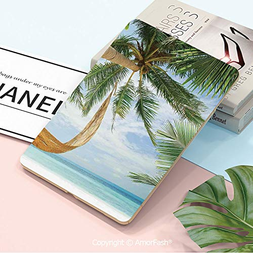 Case for Samsung Galaxy 2018 SM T590 T595 T597 Smart Cover,Tropical,View of Nice Hammock with Palms by The Ocean Sandy Shore Exotic Artsy Print Decorative,Green Cream Blue