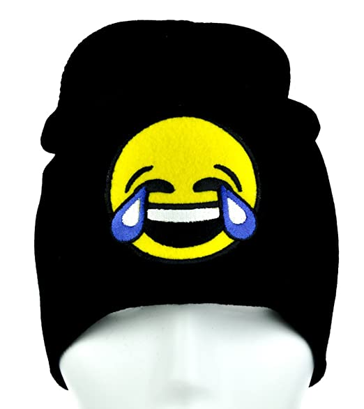 330093b18dd Image Unavailable. Image not available for. Color  Cry Laughing Face Emoji  Beanie Tears of Joy Alternative Clothing ...