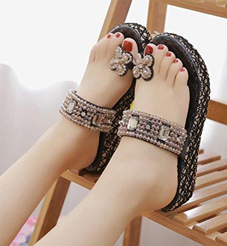 sandalias de las mujeres del diamante conjuntos de playa casuales foot mujeres pesado-zapatillas Black