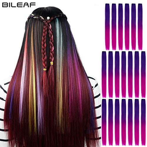 20pcs Colored Party Invisible in Hair Extensions Clip in Synthetic Hair with Multiple Colors(Dark Purple Roseo) -