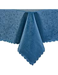 """PENGSHE Rectangular Tablecloths Dinning Table Cover Easy Care Tablecloth Waterproof/Oil-Proof/Spill-Proof Tabletop Protector (Blue, 60""""x104"""")"""
