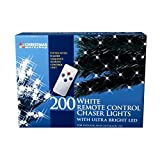 The Christmas Workshop 200 Remote Control LED Chaser Lights, Bright White