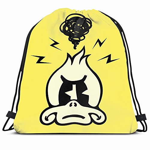 Ahawoso Drawstring Backpack String Bag 14X18 Anthropomorphic Duck Vintage Toons Angry Annoyed Book Grumpy Animals Wildlife Frustrated Goose Mad 40S 50S Sport Gym Sackpack Hiking Yoga Travel Beach