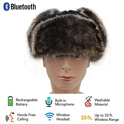 Price comparison product image YoCoo Washable Bluetooth Russian Style Winter Ear Flap Hat w/ Built in Wireless Stereo Speaker Earphone Headphone Winter Trooper Trapper Hat Cap Ushanka Russian Hat w/ removable face mask