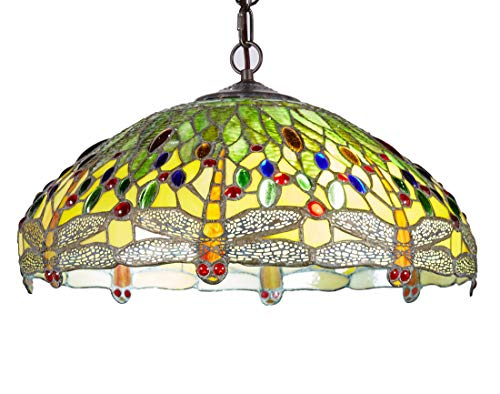 New Legend Tiffany Style Stained Glass Dragonfly 2-Light Hanging Lamp Ceiling Fixture TL16013, 18-inch Wide