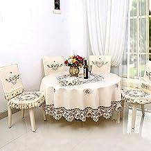 Svolite Luxury Embroidered Tablecloth Round, Cream 70inch