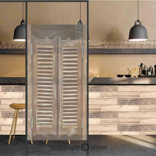 3D Decorative Privacy Window Films,Antique Style Traditional Rustic Wild West Swinging Wooden Cowboy Bar Saloon Door,No-Glue Self Static Cling Glass film for Home Bedroom Bathroom Kitchen Office ()