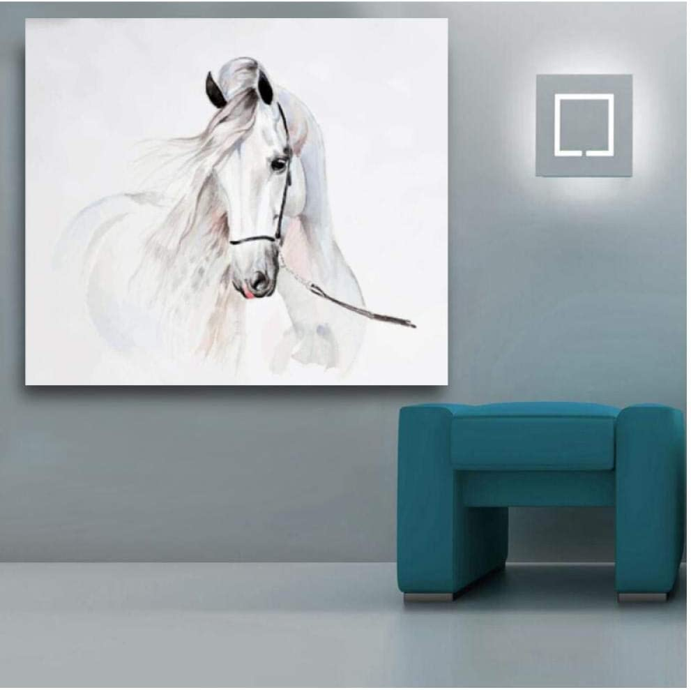 kldfig Pintura de Acuarela de Animales de Caballo Cuadros de Arte de Pared para Sala de Estar Carteles de Lona decoración para el hogar-70 * 90 cm sin Marco