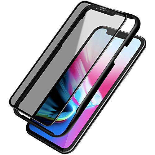 Missfeel Privacy Screen Protector for iPhone X, iPhone XS Premium Tempered Glass Screen Protector with Easy Installation Tray for Apple iPhone X / XS [Full Coverage, Anti-Spy, Case Friendly]