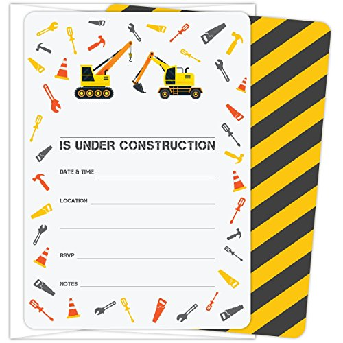 Koko Paper Co Construction Themed Party Invitations with Crane, Excavator and Tools for Boy's Birthdays, Baby Showers, or Any Occasion. Set of 25, 5 x 7 Fill-in Style Cards and Envelopes.