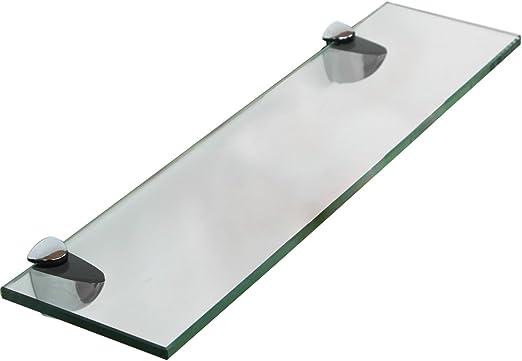 Melko® Glasablage, Glasregal ideal für Bad, Dusche und zur modernen  Dekoration mit Halterung aus Edelstahl 80 x 10 x 0,8 cm, Klarglas