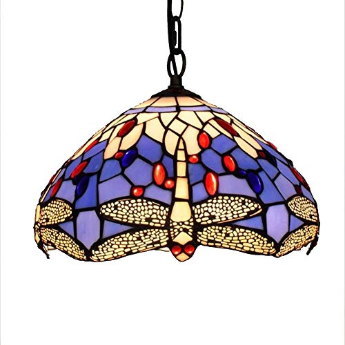 Tiffany Style Blue Dragonfly Chandelier E27 Art Pendant Lamp 12 Inches Light Vintage Stained Glass Pendant Lamps Living Room Dining Bar Aisle Corridor Balcony Ceiling Light,30Cm