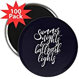 CafePress - Summer Nights And Ballpark - 2.25'' Magnet (100 pack)