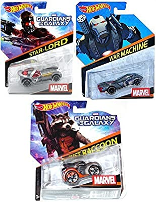 Hot Wheels Guardians of the Galaxy MARVEL COMICS 3 Pack 2015 with War Machine Star-Lord & Rocket Raccoon Character Cars