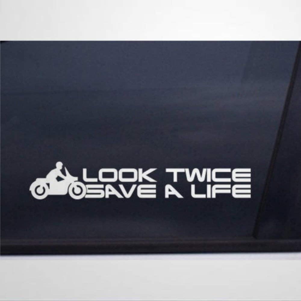 Look Twice Save A Life Awareness Vinyl Cars Decal Sticker   Auto Decals & Decal Sticker for Truck,Van,Computer,Cup,Vans,Motorcycle, Window,Bumper,Trucks,Laptop, Mug, Bottle.
