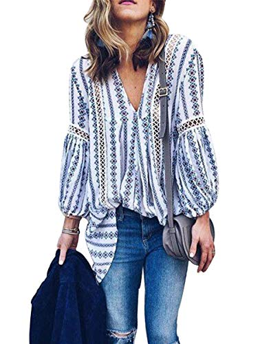 Sophieer Women Long Sleeve V Neck Hollow Out Floral Print Shirt Tops Long Blouse Tee Dark Blue L