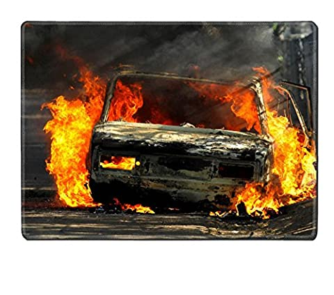 Luxlady Placemat Delivery type vehicle on side of road burning with large flames and smoke Car IMAGE 30781721 Customized Art Home (Exploding Smoke Bombs)