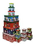 Christmas boxes, 16 count nested, assorted large set with many sizes and prints, fits in one box