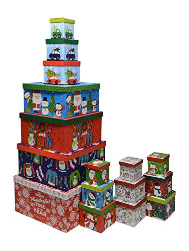 Christmas Boxes, 16 Count Nested, Assorted Large Set with Many Sizes and Prints, fits in one Box (Wonderful