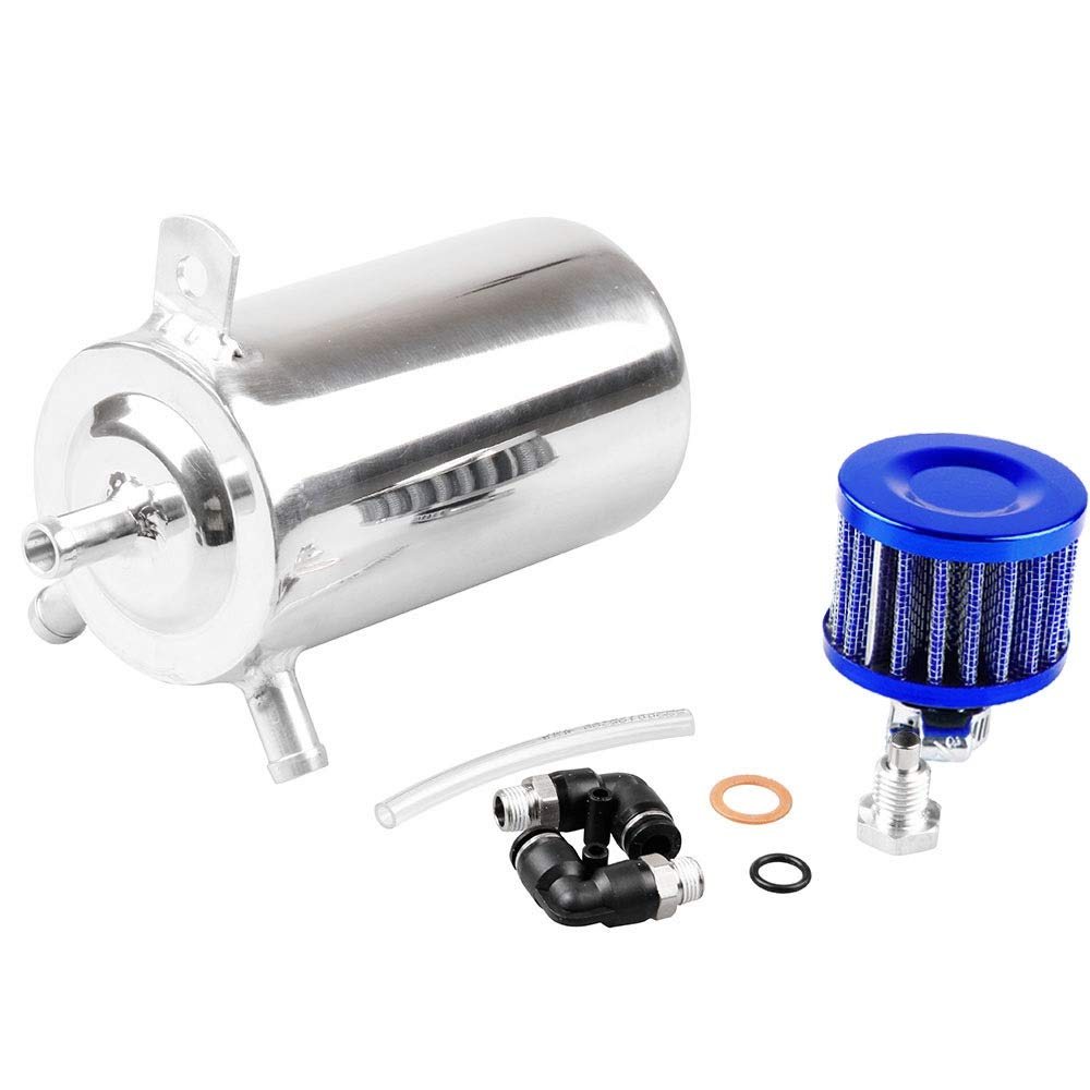Dig dog bone Universal Aluminum Oil Catch Can 500ml Oil Breather Tank w/Stainless Filter
