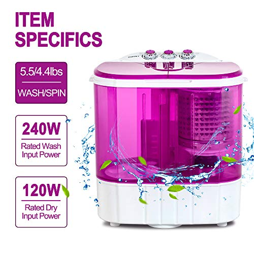 Portable Washing Machine, Kuppet 10lbs Compact Mini Washer, Wash Spin Twin Tub Durable Design to Wash All your Laundry or Swim Suit for Apartments, Dorms, RV Camping Purple