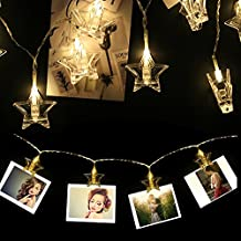 20 Leds 9.8 Feet Star LED String Lights with Photo Clips to Hang Pictures Battery Operated Indoor Outdoor Decorative Fairy Lights Curtain for Patio,Bedroom,Dorm Room, Wedding,Halloween/Christmas Party