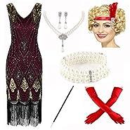 1920s Vintage Sequin Embellished Fringe Gatsby Flapper Dress w/Accessories Set