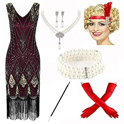 1920s Vintage Sequin Embellished Fringe Gatsby Flapper Dress w/Accessories Set