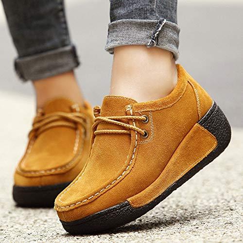 Mujeres Color Las Plataforma con Zapatos la Azul 40 Ocasionales de Qiusa Cordones tamaño de EU Amarillo yUvfzqW
