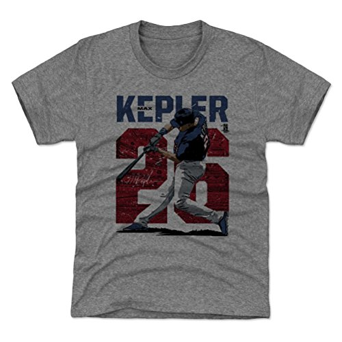 500 LEVEL Minnesota Baseball Youth Shirt - Kids Large (10-12Y) Tri Gray - Max Kepler Stadium R - Minnesota Twins Stadium