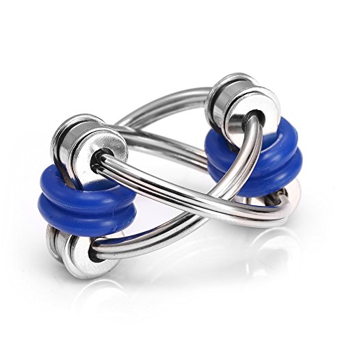 Flippy Chain Fidget Toy Stress Relief for Autism, ADHD, ADD, Autism Boredom Adults Kids 2 Pack (Blue) -