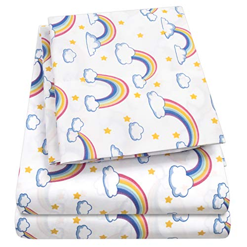 - 1500 Supreme Kids Bed Sheet Collection - Fun Colorful and Comfortable Boys and Girls Toddler Sheet Sets - Deep Pocket Wrinkle Free Hypoallergenic Soft and Cozy Bedding - Full, Rainbows