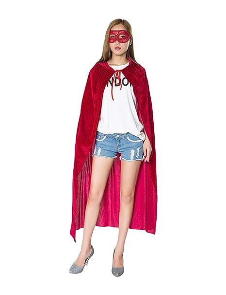 Zhhlaixing Delgado Rojo Capa de Halloween con Capucha con Máscara de Encaje - Disfraz de Mascarada
