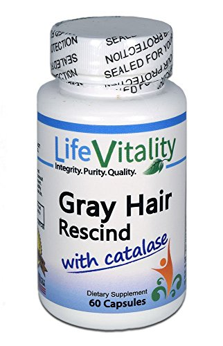Gray Hair Rescind by Life Vitality Makes Gray Hair Go Away, 60 caps, Catalase, Saw Palmetto, More, Helps Stop, Prevent Gray Hair, Restores Natural Hair Color, Promotes Thick, Healthy Hair, Non-GMO