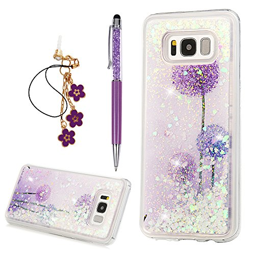 S8 Plus Case, Flowing Liquid 3D Glitter TPU Silicone Quicksand Case Floating Moving Bling Hearts Sparkly Print Clear Shockproof Protective Cover for Samsung Galaxy S8 Plus by YOKIRIN, Dandelion