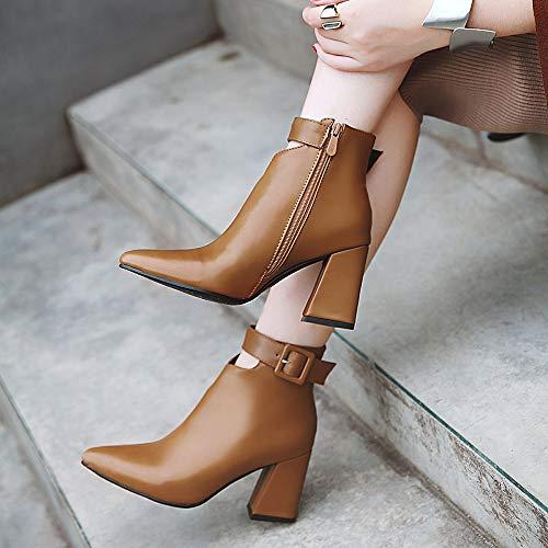 Invierno De Gruesa De E Alto Tamaño Mujer Botas Botas Botas Zapatos Otoño Moda Suela KUKI Botas Las De Tacón De De De De Brown De Tacones Gran Mujeres Mujer wnPxOHqYv