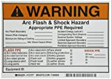 Brady 121077 Vinyl Write-On Arc Flash & Shock Labels (Warning) , Black/Orange On White,  5'' Height x 7'',  Legend ''Warning Arc Flash & Shock Hazard Appropriate Ppe Required Flash Hazard Category____...,  Etc.'' (5 Labels per Package)