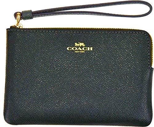 Coach Crossgrain Leather Corner Zip Wristlet (Ivy) (Wristlet Medium Coach Leather)