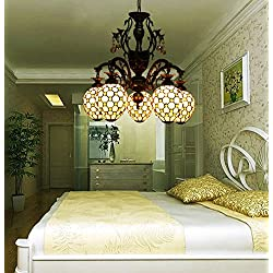 Makenier Vintage Tiffany Style Stained Glass 5-light Yellow Bead Chandelier