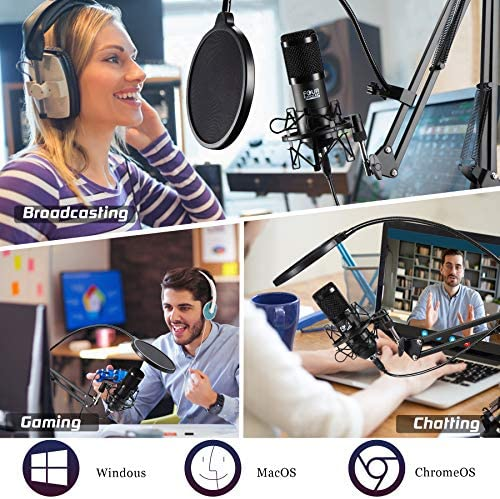 FOUR UNCLES Studio Condenser, Podcast Microphone USB Microphone Kit Cardioid Studio Mic with Adjustable Scissor Arm Stand Shock Mount Gaming Microphone Plug & Play for Recording Podcasting Voice Over
