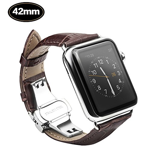 - Xboun Alligator Grain Apple watch Series 1/2/3 Replacement Band with Classical Butterfly Push Button Deployment Buckle Strap Fits for ALL Apple Watch 42mm Models - Dark Brown