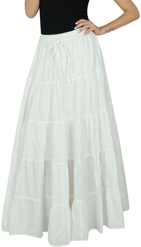 Bimba Womens Flaired - Falda de algodón, estilo bohemio, talla grande, elástica, bottoms indios blanco 40: Amazon.es: Ropa y accesorios