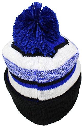 17b623446 Best Winter Hats Quality Striped Variegated Cuffed Beanie W/Pom (L/XL) -  Black/Royal Blue/White