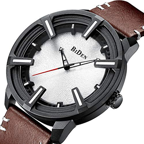 - Mens Watches Waterproof Minimalist Luxury Leather Wrist Watch for Men Date Calendar Gents Business Casual Fashion Simple Dress Analogue Quartz Watches - Brown
