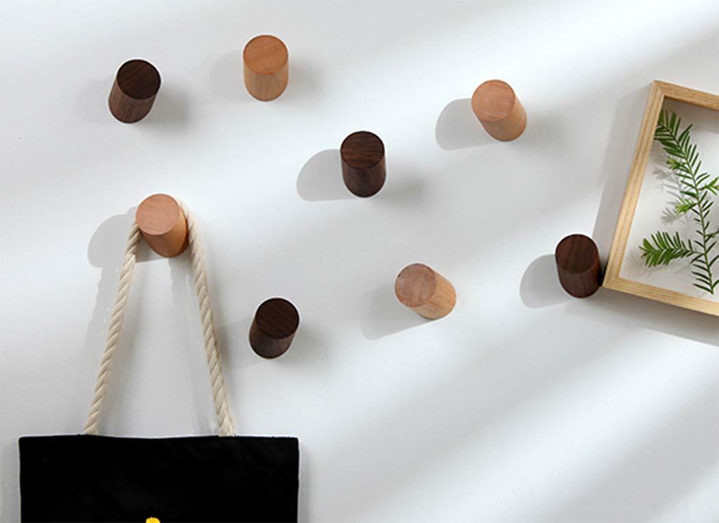 portaoggetti Artigianali, Ranvi Appendiabiti da Parete in Legno Naturale Appendini da Parete Singoli Vintage Noce Nero, 6cm, Confezione da 2