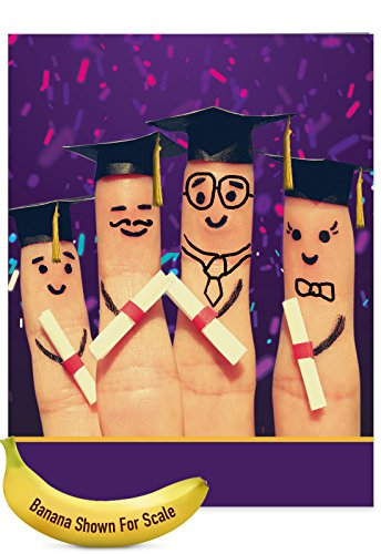 J3851HTTG-US Jumbo Teacher Thank You Greeting Card: Graduation Digits Featuring Cute and Quirky Images of Fingers Dressed Up For Graduation Day, With Envelope (Large Size: 8.5
