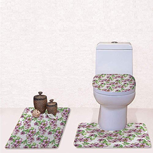 Print 3 Pcss Bathroom Rug Set Contour Mat Toilet Seat Cover,Retro Sun Figure with Grunge Effects Universe Spiritual Art Design Decorative with Lime Green Vermilion Black,decorate -